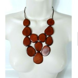 TAGUA Nut Necklace and Earrings Set Brown Handmade